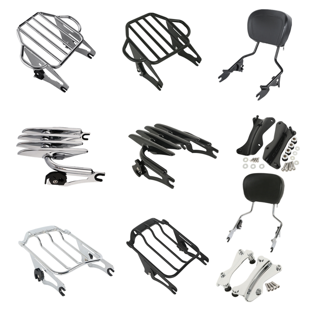 Rack para bagagem de motocicleta, rack destacável para barra sissy, kit de docking para harley touring road king, glide street glide 2014 2020