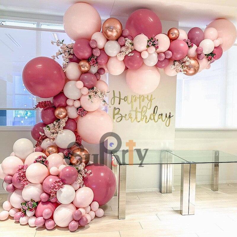 Bricolage rétro ballon Rose vif guirlande arc Kit 4D Rose or bébé Rose ballons blancs pour anniversaire anniversaire mariages fête décor