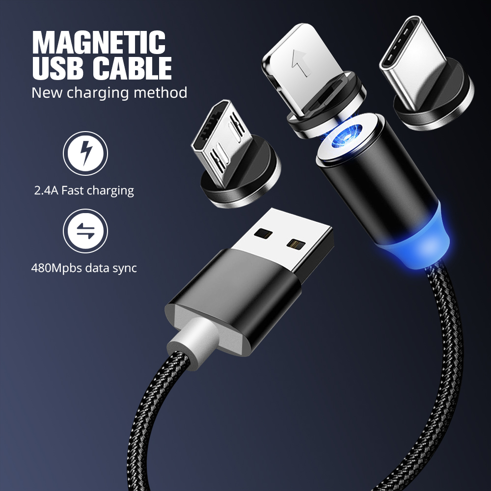 Magnetic USB Cable Fast Charging USB Type C Cable Magnet Charger Data Charge Micro USB Cable Mobile Phone Cable USB Cord Cable