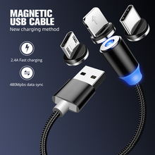 Magnetic USB Cable Fast Charging USB Type C Cable Magnet Cha