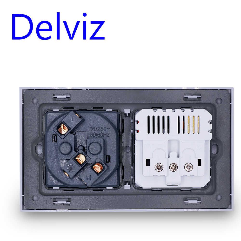 Delviz EU 표준 USB 소켓, 이중 콘센트, 16A 품질 전원 패널 AC 110 ~ 250V 146mm * 86mm, 이중 프레임 벽 USB 전원 콘센트
