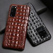 Deri telefon kılıfı için Samsung S20 Ultra S10 S10e S9 S8 S7 not 8 9 10 20 artı A20 A30 a50 A70 A51 A71 A8 timsah arka doku