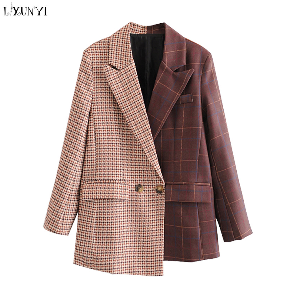 Women's Plaid Blazer 2020 Spring Double Breasted Fashion Houndstooth Casual Jackets Asymmetrical Suit Coat Blaser Feminino