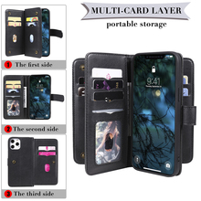 Wallet Case For Sony Xperia 5 8 1 ii 10 II L4 With 10 Card Slots For iPhone 11 Pro Max 10 XS XR X 7 8 Plus 6 6S SE 2020