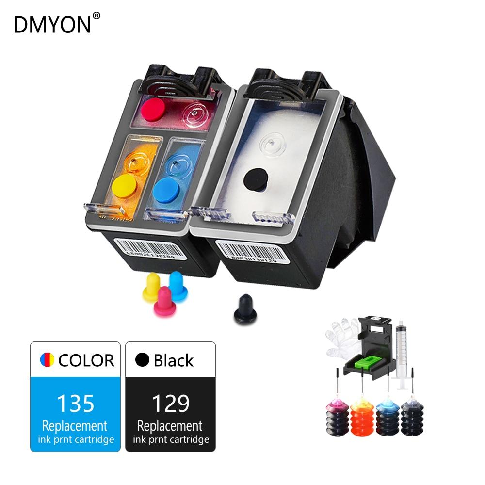 Printer Refillable Ink Cartridge Replacement for HP 129 135 Photosmart C4140 C4150 C4170 C4173 C4175 C4180