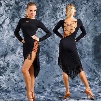 2020 New Latin Dance Dress For Woman Sexy Irregular Strap Tassel Dresses Female Ballroom Cha Cha Salsa Practice Clothing DL5197
