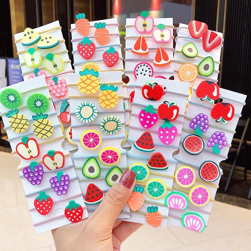 10Pcs/Bag Cute Cartoon Fruit Flower Elastic Hair Rubber Bands For Children Kids Girls Scrunchie Tie Hair Ring Rope Accessories