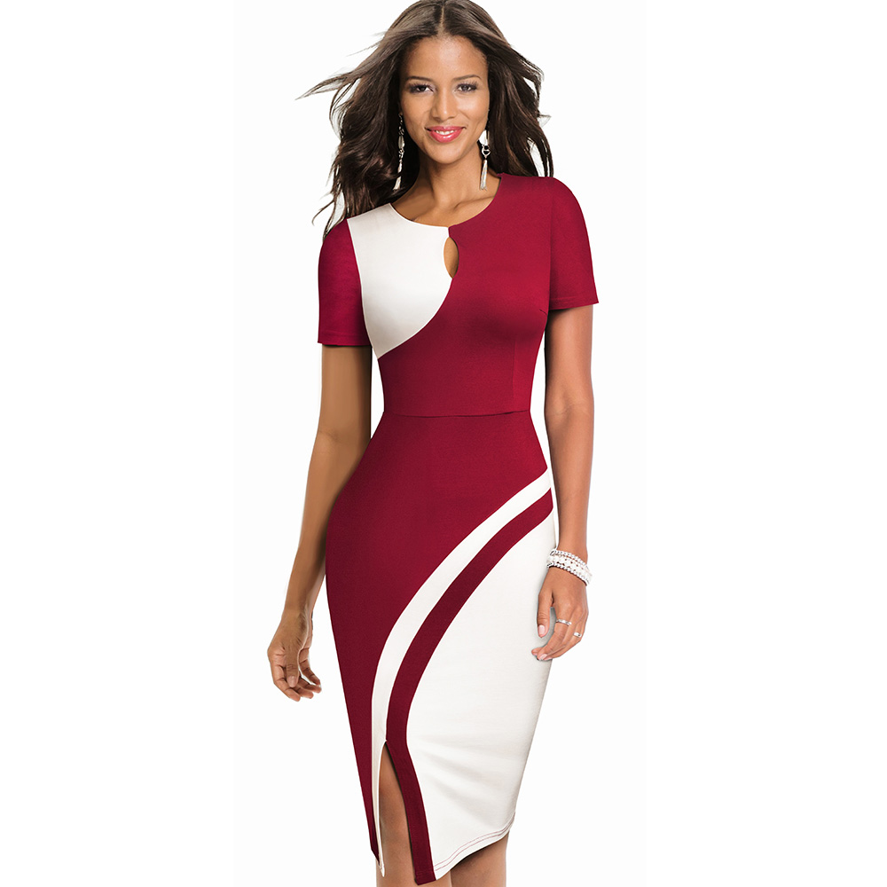 Image 3 - Nice forever New Spring Elegant Stylish Contrast Color Patchwork Office Work vestidos Business Bodycon Women Dress B571Dresses   -