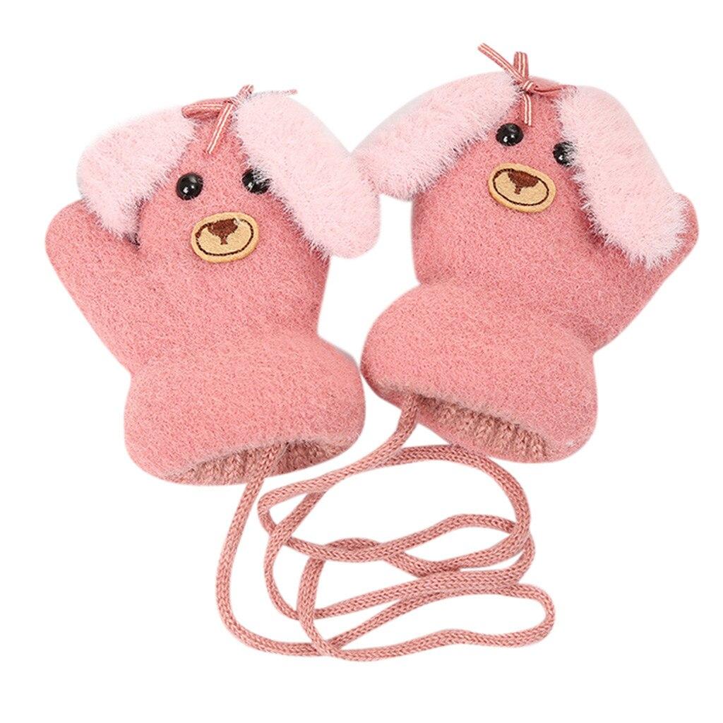 Детские теплые трикотажные зимние перчатки с милыми мультяшными животными для мальчиков и девочек, милые Мультяшные перчатки для детей, теплые зимние перчатки - Цвет: C