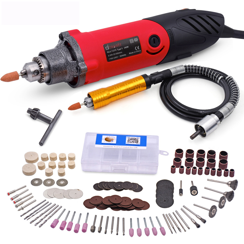 GOXAWEE 220V Electric Die Grinder Electric Drill Dremel Style Engraving Mini Drill Rotary Tool Grinder Power Drilling Machine