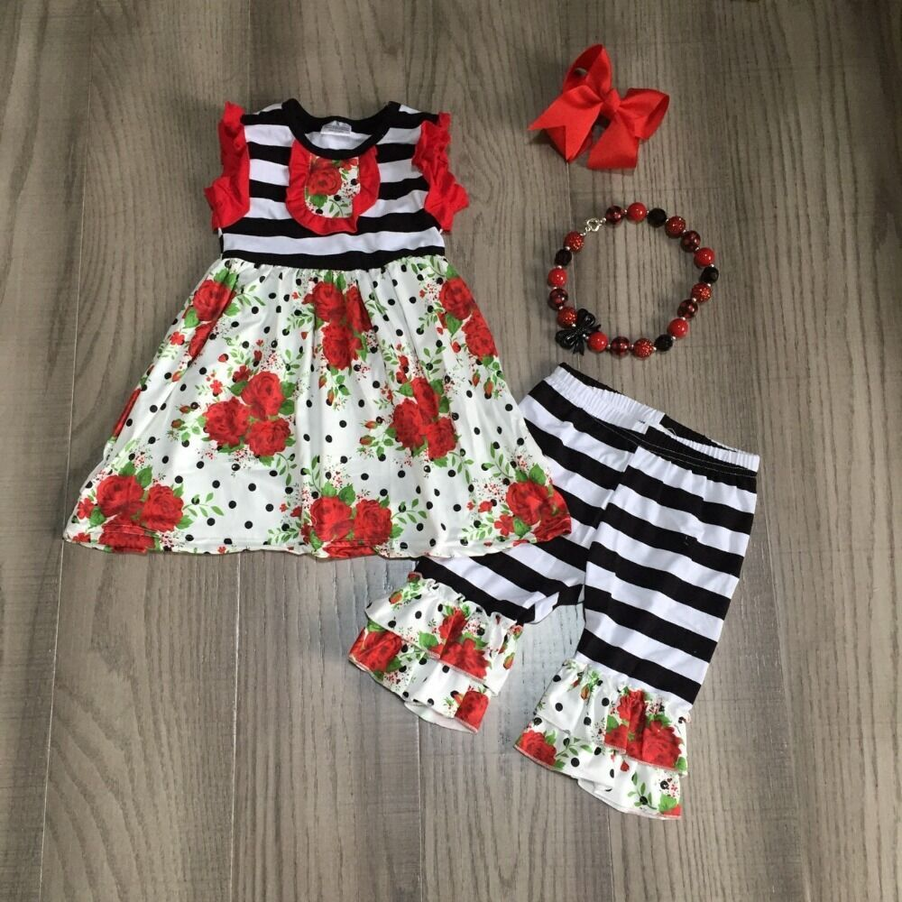 Baby Girls Summer Spring Outfits Girls Floral Dress Stripe Capri Pant With Accessories