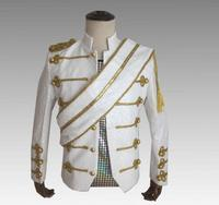 New Arrival Mens Luxurious Sequin Slim Fit Blazer Costume Male Stage Performance Clothing Handsome Suit Jacket White Outwear