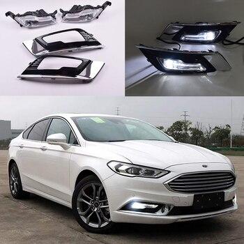 ECAHAYAKU 1 Pair Car Special LED DRL Daytime Running Lights White  for Ford Mondeo 2017 2018 2019 Replace original Fog Light 12V