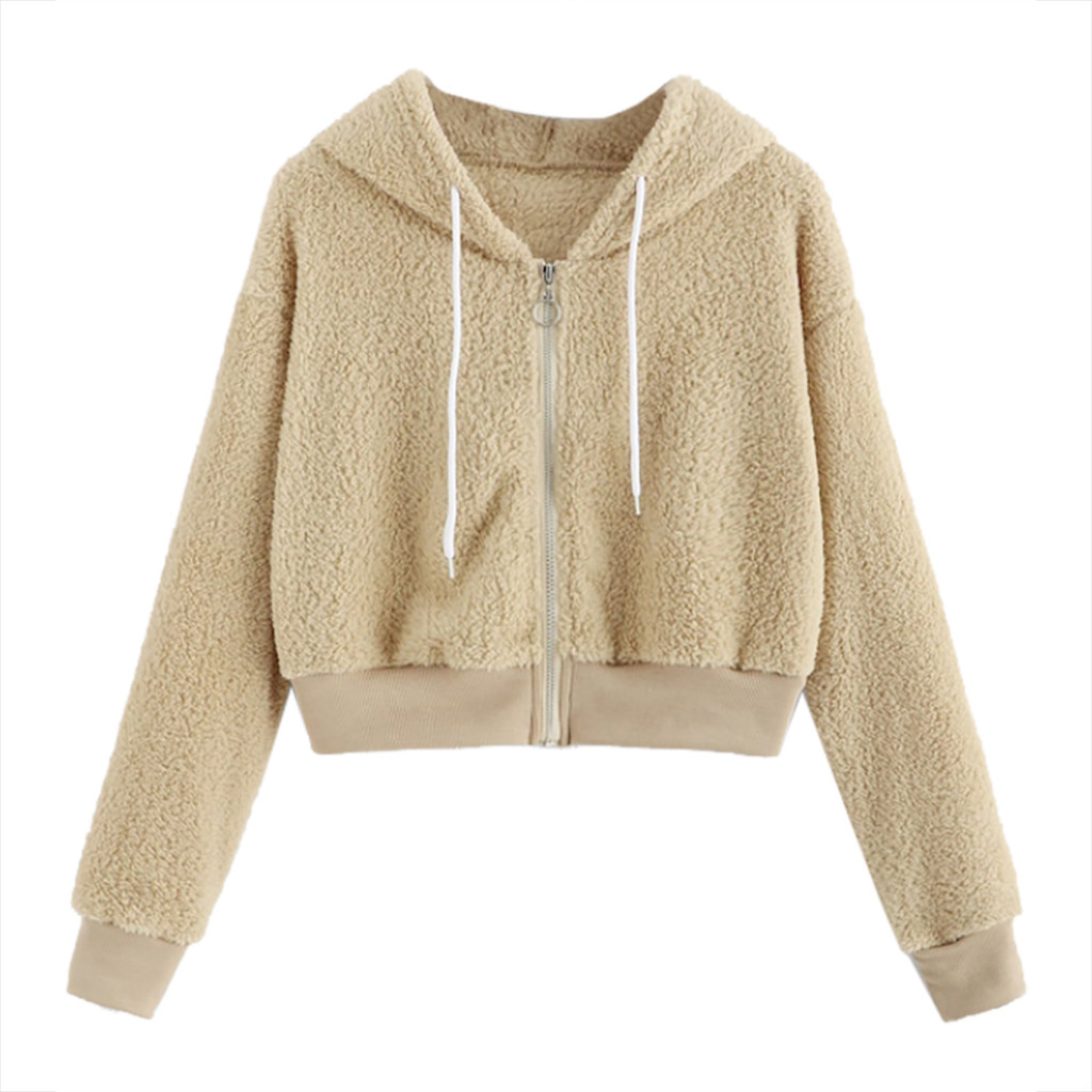Teddy Jacket Women Crop Hoodies Coat Ladies Solid Fluffy Drawstring Long Sleeve Hoodie Cropped Tops Jackets Chaquetas Mujer 2020
