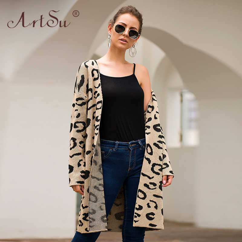 ArtSu 2019 חורף סוודר נשים ארוך שרוול סרוג הדפס מנומר קרדיגן חאקי ירוק רופף אופנה ארוך קרדיגן ג 'רזי Mujer