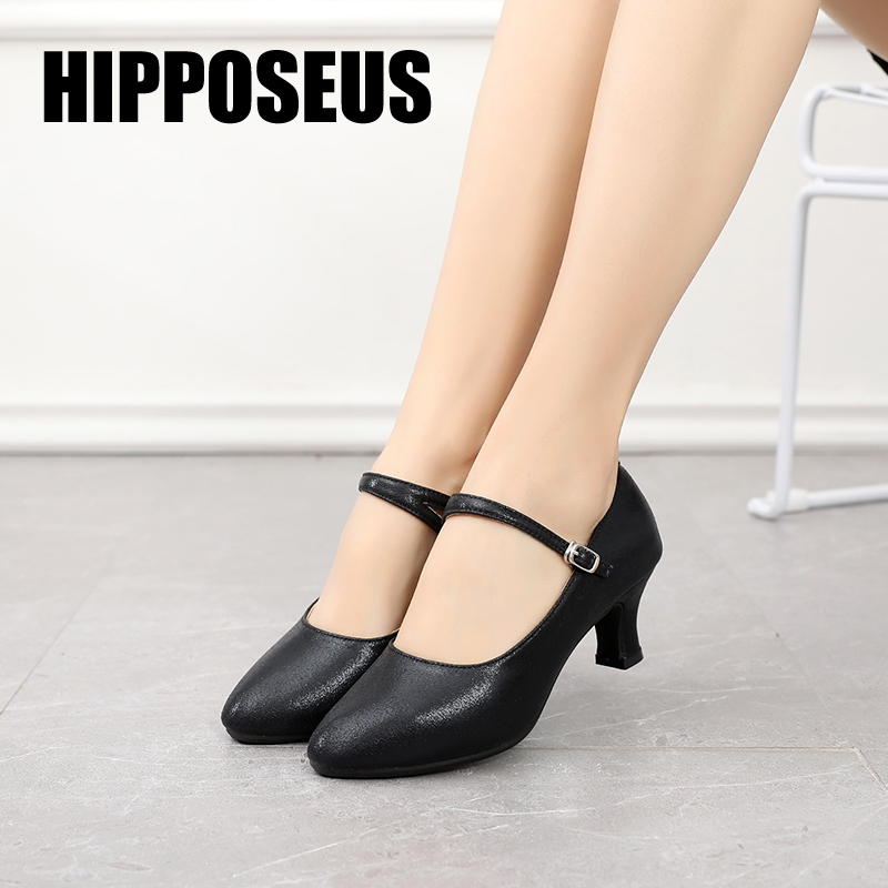 Hipposeus Modern Latin Dance Shoes Women for Girls Ladies Ballroom Tango Dancing Shoes Closed Toe Rubber sole Dropshipping