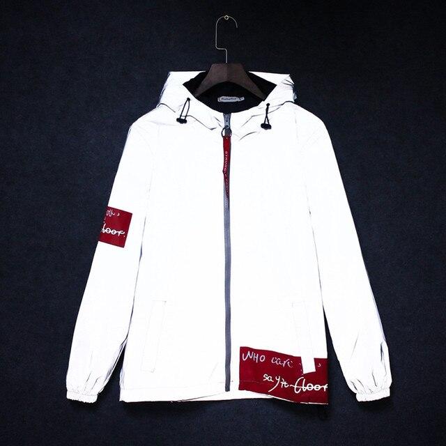 New full reflective jacket men women harajuku windbreaker jackets hooded hip-hop streetwear night shiny zipper coats jacket 9