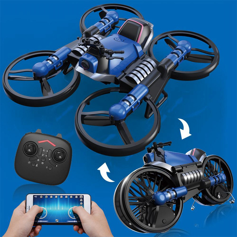 2.4G Folding 2in1 RC Drone Deformation Motorcycle With 650ma Battery Aerial Photography  Quadcopter Land-air Model Electric Toy