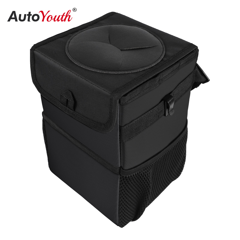 Car Trash Can Car Folding High Quality Car Trash Can Waterproof Liner Creative Trash Oxford Material Washable and Durable Black