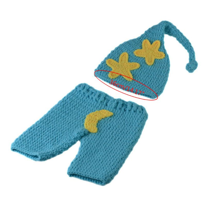 Newborn Baby Crochet Knitted Moon Stars Style Hat Pants Photo Photography Props K1KC