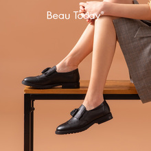 Beautoday Loafers Vrouwen Echt Kalfslederen Franjes Brogue Ronde Neus Slip Op Dames Casual Dress Flats Handgemaakte 21047