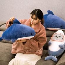 Coussin en peluche de requin, jouet en peluche, poupée de dessin animé, visage de requin, oreiller multifonctionnel pour la maison et le bureau, cadeau d'anniversaire et de noël