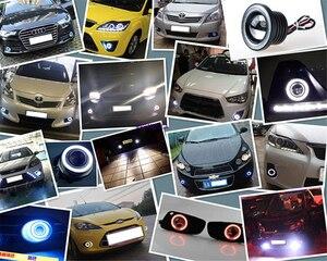 "Image 5 - 2pcs Angel Eyes Fog Lamp  3.0"" 76mm  12V Universal COB LED DRL Driving Lights white blue pink yellow green red"