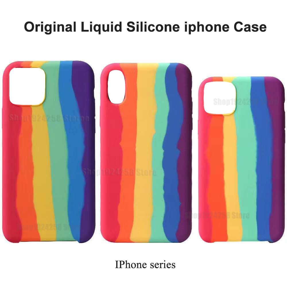 Coque originale en Silicone liquide arc-en-ciel pour iPhone, compatible modèles 11, 11 Pro, 11, XS Max, XR, 7, 8 Plus