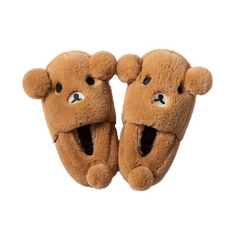 2019 зимние тапочки для маленьких мальчиков и девочек; детские домашние тапочки с милым медведем; теплые плюшевые детские тапочки; детская