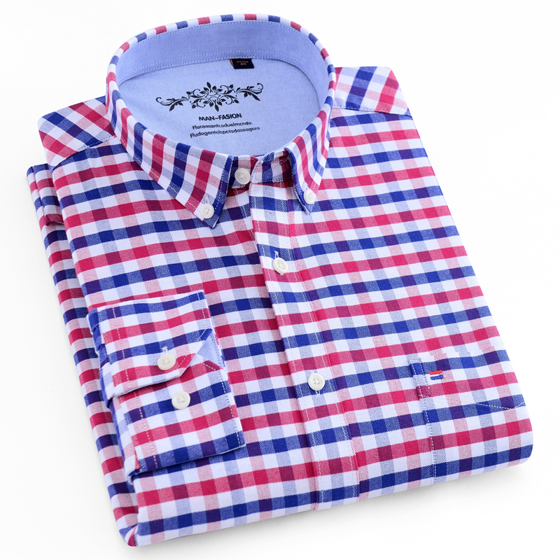 Men's Casual Long Sleeve Plaid Striped Oxford Shirt Single Patch Pocket with Box-pleated Back Yoke Button Down Checkered Shirts