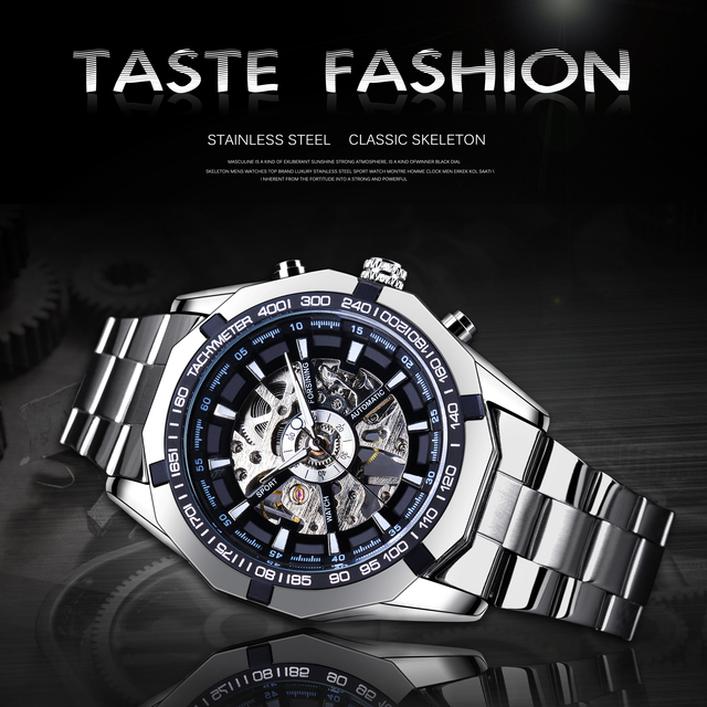 Forsining 2019 Stainless Steel Waterproof Mens Skeleton Watches Top Brand Luxury Transparent Mechanical Sport Male Wrist Watches 2