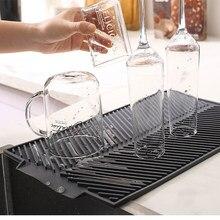 Prato quadrado de silicone esteira de secagem resistente ao calor de drenagem utensílios de mesa dishwaser almofada durável louça mesa esteira placemat