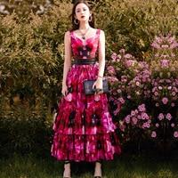SEQINYY 100% Cotton Dress 2020 Summer Spring New Fashion Design Women Sleeveless Flower Print Purple Red Ruffles Midi Dress