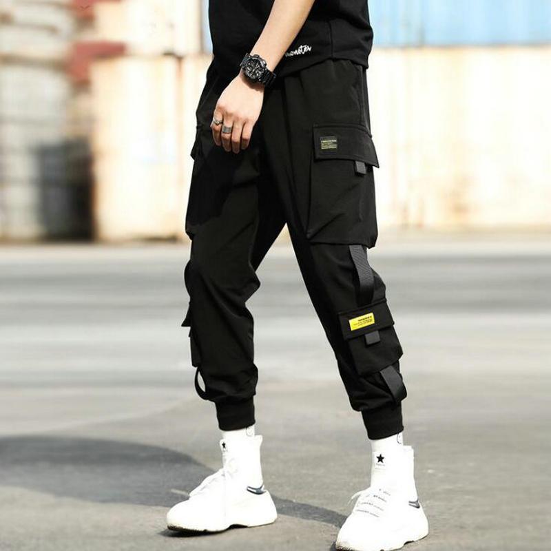 Autumn New Hip Hop Joggers Men Black Harem Pants Multi-pocket Ribbons Man Sweatpants Streetwear Casual Mens Pants S-3XL