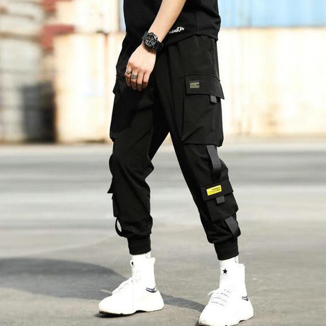Herbst Neue Hip Hop Joggers Männer Schwarz Harem Hosen Multi tasche Bänder Mann Jogginghose Streetwear Casual Herren Hosen S 3XL