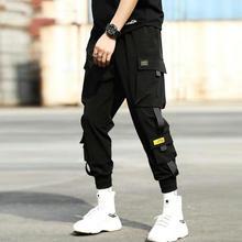 가을 뉴 힙합 조깅 남자 블랙 하렘 바지 멀티 포켓 리본 남자 운동복 Streetwear 캐주얼 망 바지 S 3XL