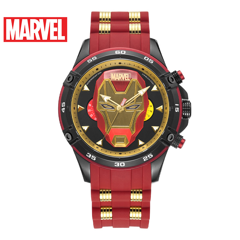 Marvel Avengers Iron Men Mark Super Hero Man Sport Fashion Quartz 5ATM Waterproof Watch Stainless Steel Silicone Band Clock Gift