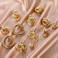 Gold Silber Farbe Legierung Tropfen Ohrringe Für Frauen Übertreibung Ohrringe Hochzeit Einfache Mode Schmuck Trend Zubehör