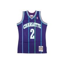 Mitchell & Ness Retro Jersey Men's Swingman Sports Jersey NBA Charlotte Hornets #2 Johnson Blue Striped Basketball Jerseys