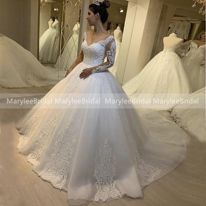 Vestido De Noiva De Renda Arab Turkey Wedding Dresses Long Sleeves Bride Dress Royal Train Sexy V-neck Wedding Gowns Customize