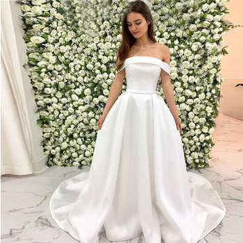 Eightale Satin Wedding Dress Strapless Off the Shoulder A Line Appliques White Wedding Gowns robe mariage 2019