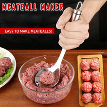 Non-Stick Creative Meatball Maker Spoon Stainless Elliptical Leakage Hole Meat Baller Mold Kitchen Utensil Gadget Meat Tool non stick meat baller spoon with long handle stainless steel meatball maker press meatball scoops meat ball maker kitchen tool
