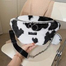 Waist-Bag Zebra Handbags Crossbody-Bag Fanny-Pack Plush-Chest-Packs Leopard Female Women