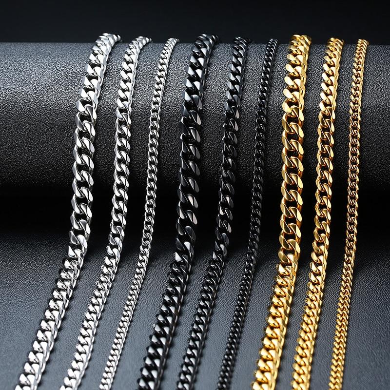 Vnox basique Punk acier inoxydable collier pour hommes femmes gourmette cubain lien chaîne Chokers Vintage noir or ton solide métal