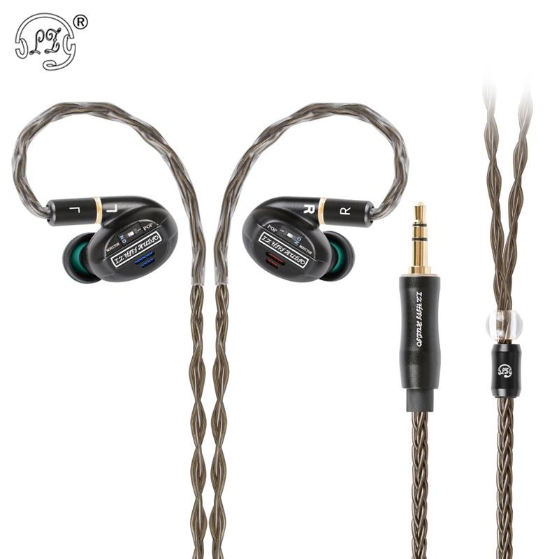 Neue LZ A7 In Ohr Kopfhörer 1 Dynamische + 4BA + 2 Piezoelektrischen Keramik Fahrer Hybrid 7 Einheit HIFI IEM austauschbare Tuning Schalter MMCX A6