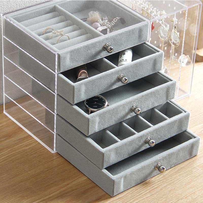 Mordoa transparente acrílico pendiente de almacenamiento soporte organizador pendientes tachuelas soporte con cajón organizador de joyería anillos caja estante