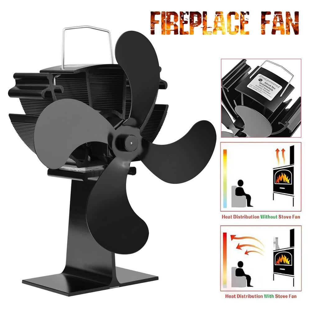 Eco-Friendly 4 Blade Black Fireplace With Safe Lid Quiet Heat Powered Stove Fan Komin Log Wood Burner For Home Heat Distribution