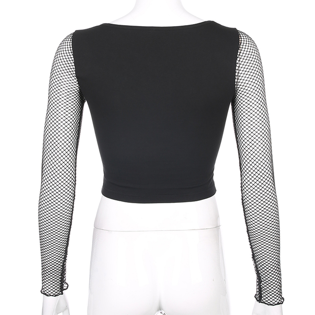 Black Cropped T-Shirt for women with long sleeves mesh