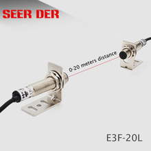 Interruptor fotoelétrico do sensor do feixe do laser E3F 20L interruptor infravermelho 20 medidores npn nenhum sensor