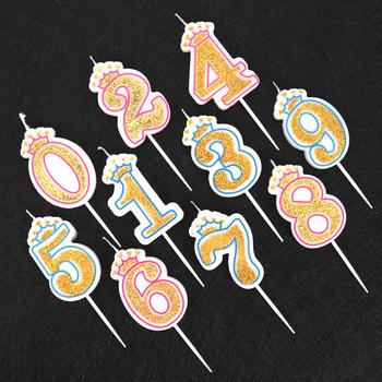 Cakelove 1 sztuk w kolorze błyszczącego złota różowy niebieski szczęśliwy numer urodzinowy świece 0-9 dla dzieci dorosłych dziewczyny urodziny korona na przyjęcie świece ciasto tanie i dobre opinie Ogólne świeca Parafina